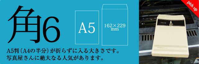 角6封筒 A5判(A4の半分)が折らずに入る大きさです。写真屋さんに絶大なる人気があります。